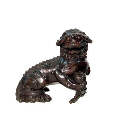 SRB86037 Bronze Chinese Foo Dog with Ball Sculpture Metropolitan Galleries Inc.
