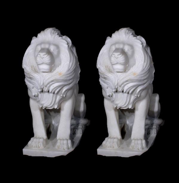 JBA200 Marble Sitting Lions Sculpture Pair Metropolitan Galleries Inc.