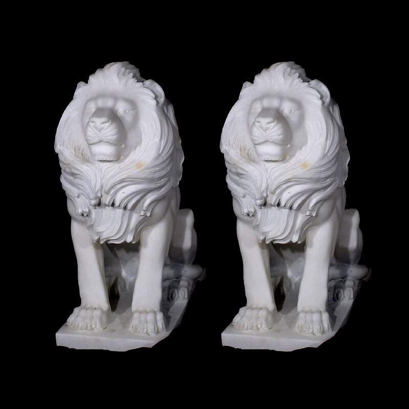 JBA200 Marble Sitting Lions Sculpture Pair Metropolitan Galleries Inc.