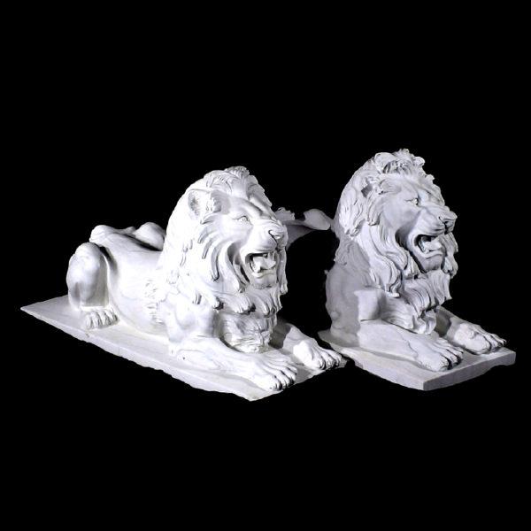 JBA202 Marble Lying Lions Sculpture Pair Metropolitan Galleries Inc.