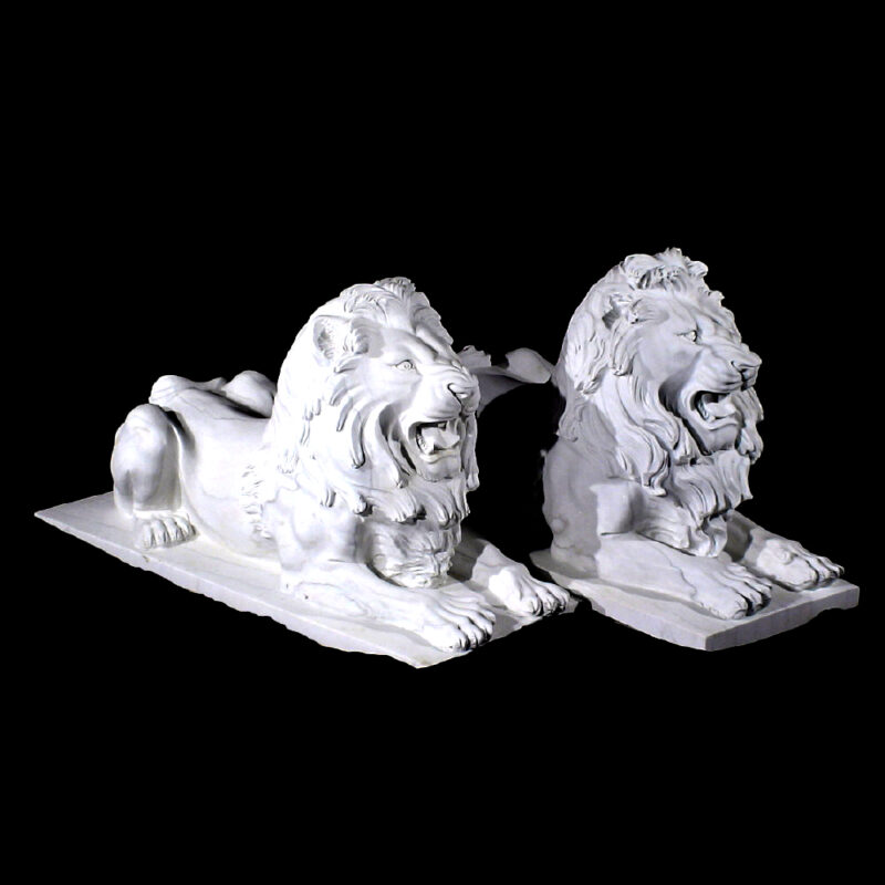 JBA202 Marble Lying Lions Sculpture Pair Metropolitan Galleries Inc.