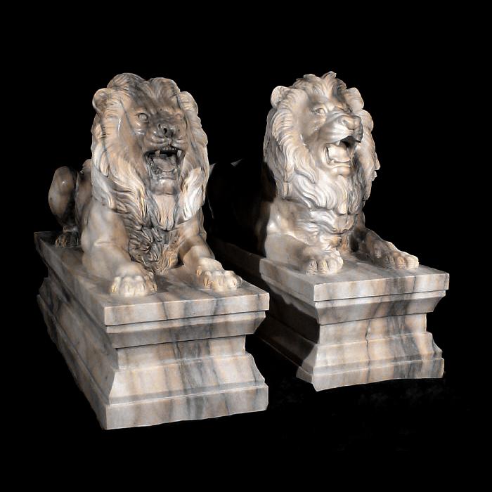 JBA210 Marble Lying Lions on Pedestal Sculpture Set Metropolitan Galleries Inc.