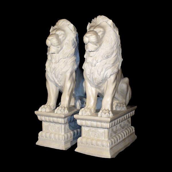 JBA240 Marble Sitting Lions on Pedestal Sculpture Metropolitan Galleries Inc.