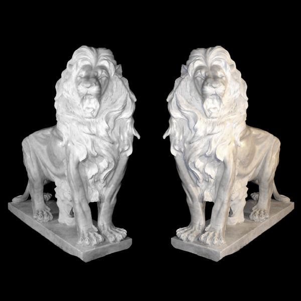 JBA260 Marble Standing Lion Sculpture Pair Metropolitan Galleries Inc.