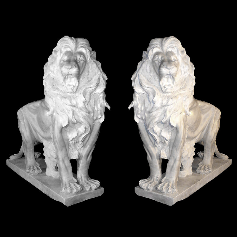 JBA260 Marble Standing Lion Sculpture Pair Metropolitan Galleries Inc.