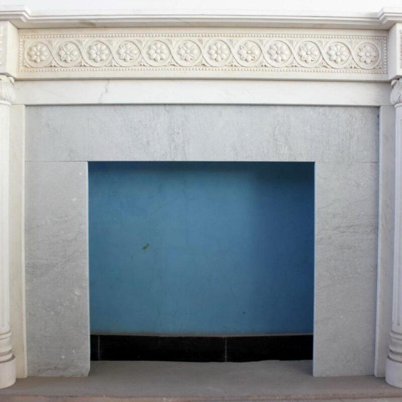 JBM86073 Marble Mantle White Columnar Floral Metropolitan Galleries Inc.
