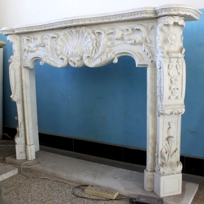 JBM86075 Marble Mantle Elegant White Metropolitan Galleries Inc.