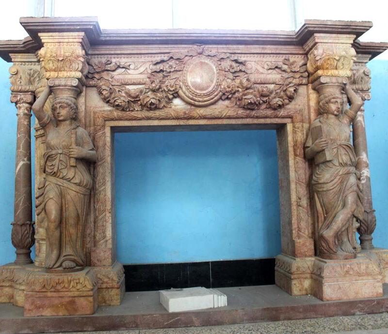 JBM86077 Marble Mantle Lady Columnar Metropolitan Galleries Inc.