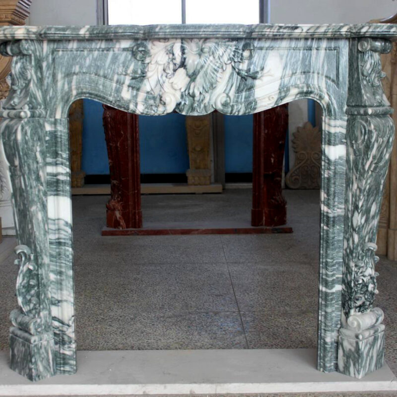 JBM86079 Marble Mantle Grey Vein Floral Metropolitan Galleries Inc.