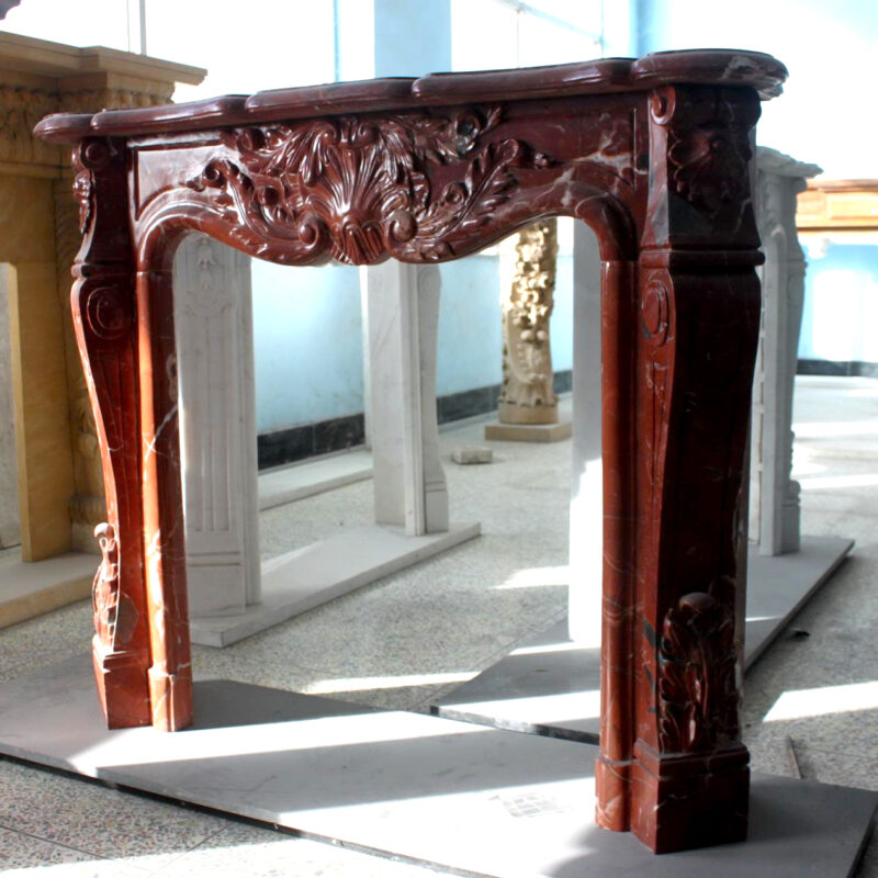 JBM86086 Marble Mantle Blood Red Leaf Pattern Metropolitan Galleries Inc. Fire Place Surround
