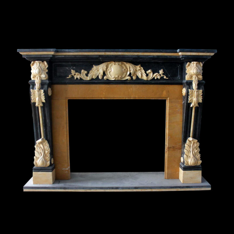 JBM86093 Marble Black & Gold Ornate Fire Place Mantle Surround by Metropolitan Galleries Inc