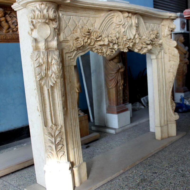 JBM86096 Marble Mantle Beige Ornate Pattern Metropolitan Galleries Inc. Fire Place Surround