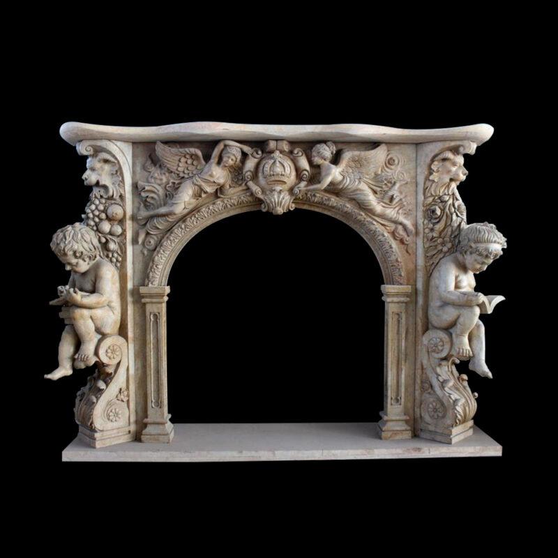 JBM86098 Marble Angels & Cherubs Ornate Fire Place Mantle Surround by Metropolitan Galleries Inc