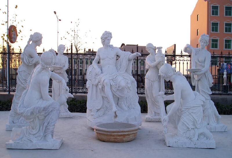 JBS180 Marble Apollo & Nymphs Sculpture Set Metropolitan Galleries Inc