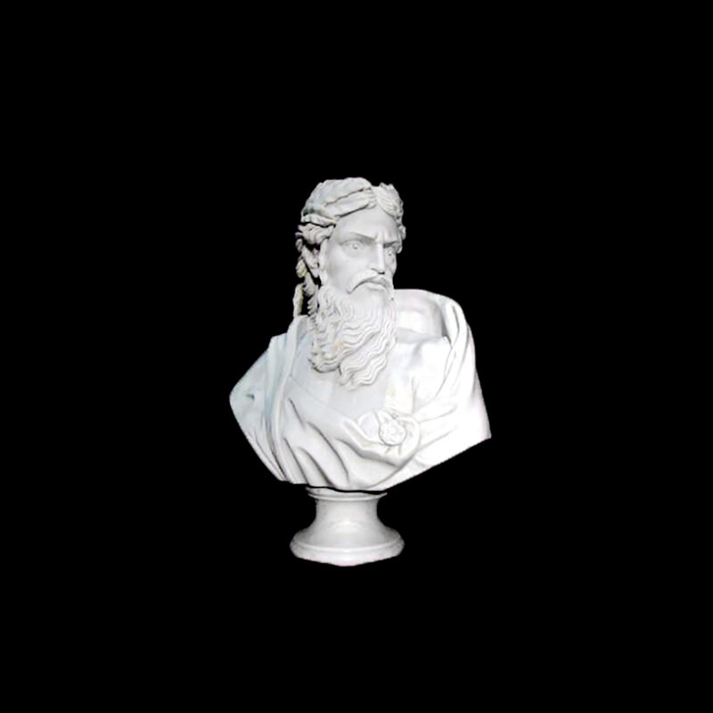 JBS206 Marble Bust of Zeus Sculpture by Metropolitan Galleries Inc