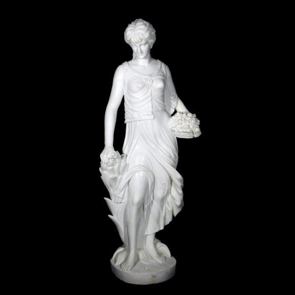 JBS366 Marble Lady with Flowers Sculpture Metropolitan Galleries Inc.