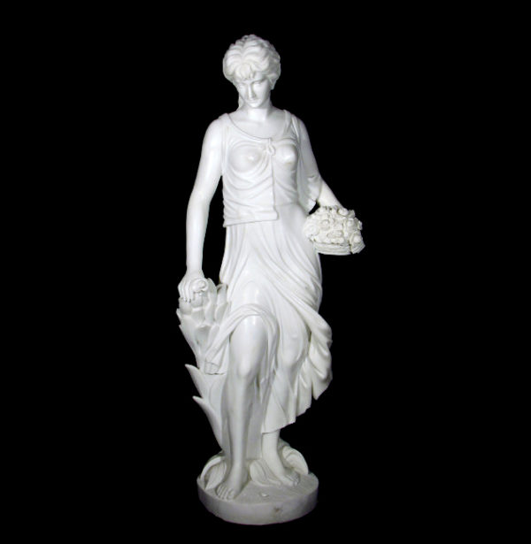 JBS366 Marble Lady with Flowers Sculpture Metropolitan Galleries Inc.