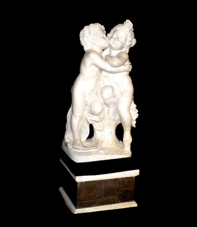 JBS412 Marble Cherubs Kissing Sculpture Metropolitan Galleries Inc.