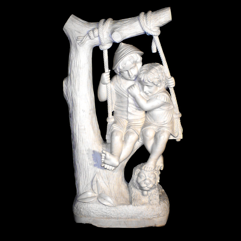 JBS440 Marble Children on Swing Sculpture Metropolitan Galleries Inc.