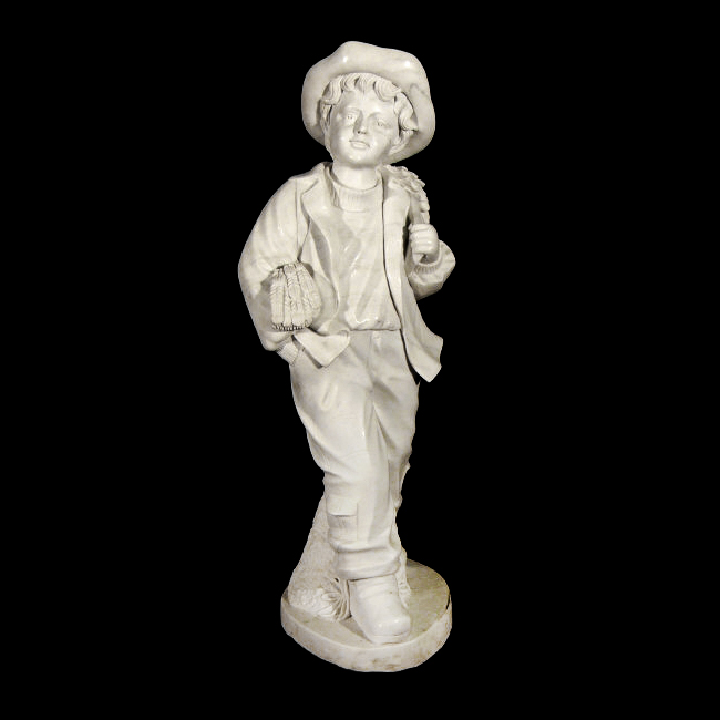 JBS520 Marble School Boy with Wheat Sculpture Metropolitan Galleries Inc.