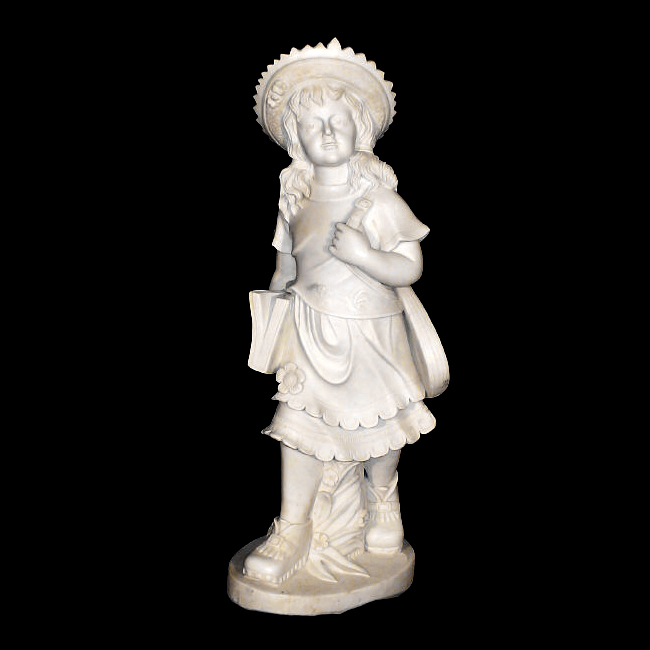 JBS630 Marble School Girl with Book Sculpture Metropolitan Galleries Inc.