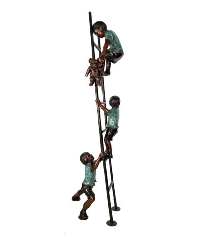 SRB078031 Bronze Children Teddybear Ladder Sculpture Metropolitan Galleries Inc.