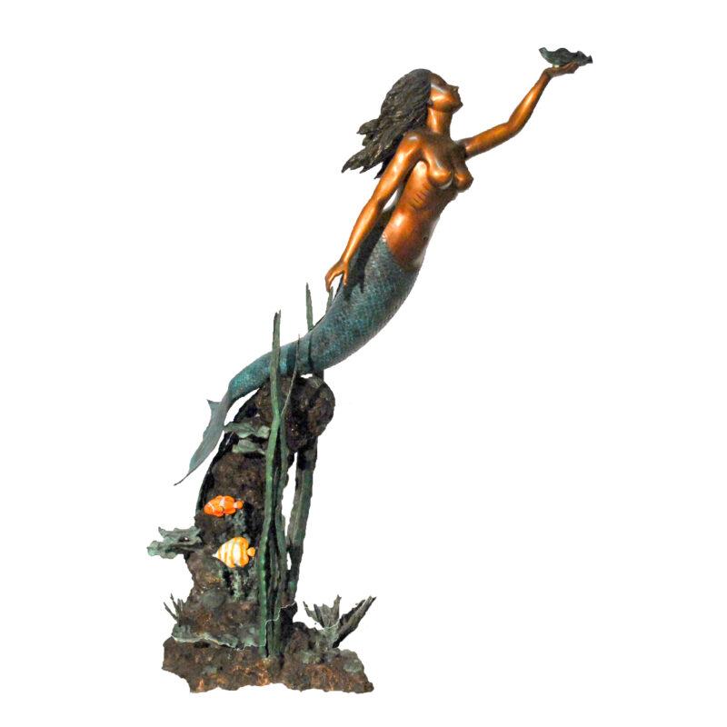 SRB41008 Bronze Mermaid in Sea Fountain Sculpture by Metropolitan Galleries Inc