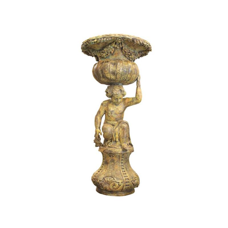 SRB991758 Bronze Kneeling Boy Planter Urn Sculpture in Sand Green Patina by Metropolitan Galleries Inc
