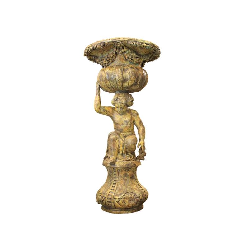 SRB991759 Bronze Kneeling Boy Planter Urn Sculpture in Sand Green Patina by Metropolitan Galleries Inc