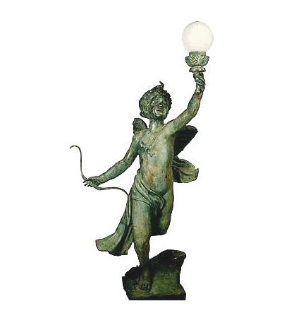 SRB991944 Bronze Cupid holding Light Sculpture Left Metropolitan Galleries Inc.