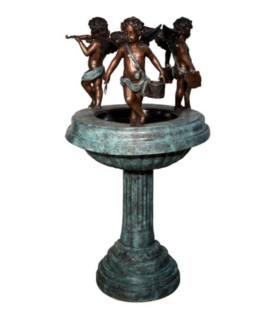 SRB022036 Bronze Cupids Pedestal Pedestal Fountain Sculpture Metropolitan Galleries Inc.
