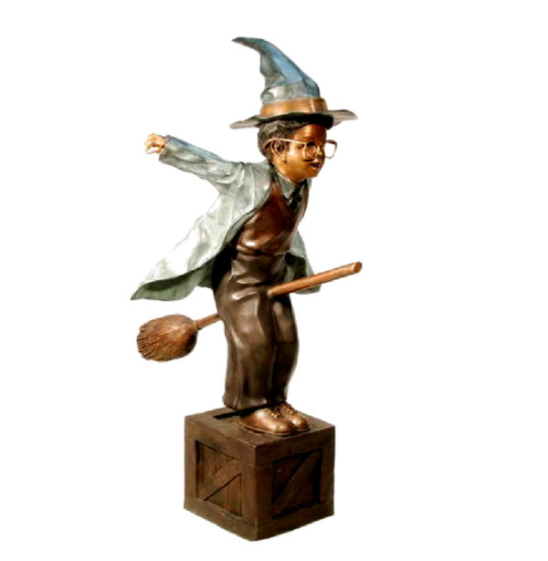 SRB029390 Bronze Little Wizard on Broom Sculpture Metropolitan Galleries Inc.