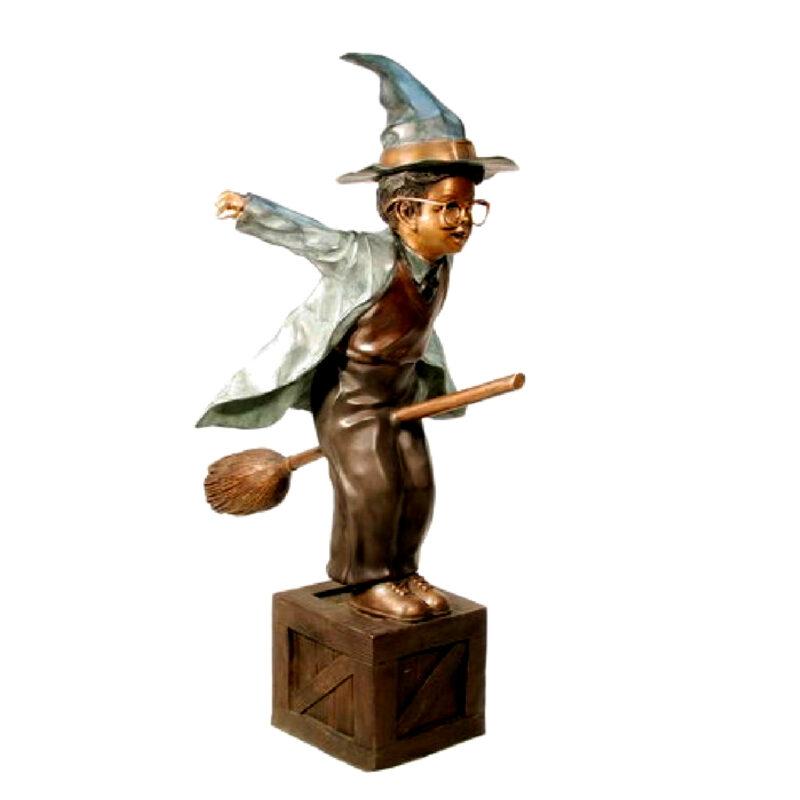 SRB029390 Bronze Little Wizard on Broom Sculpture Metropolitan Galleries Inc.
