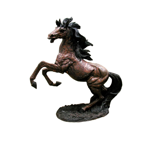 SRB055105 Bronze Rearing Horse Sculpture Metropolitan Galleries Inc.