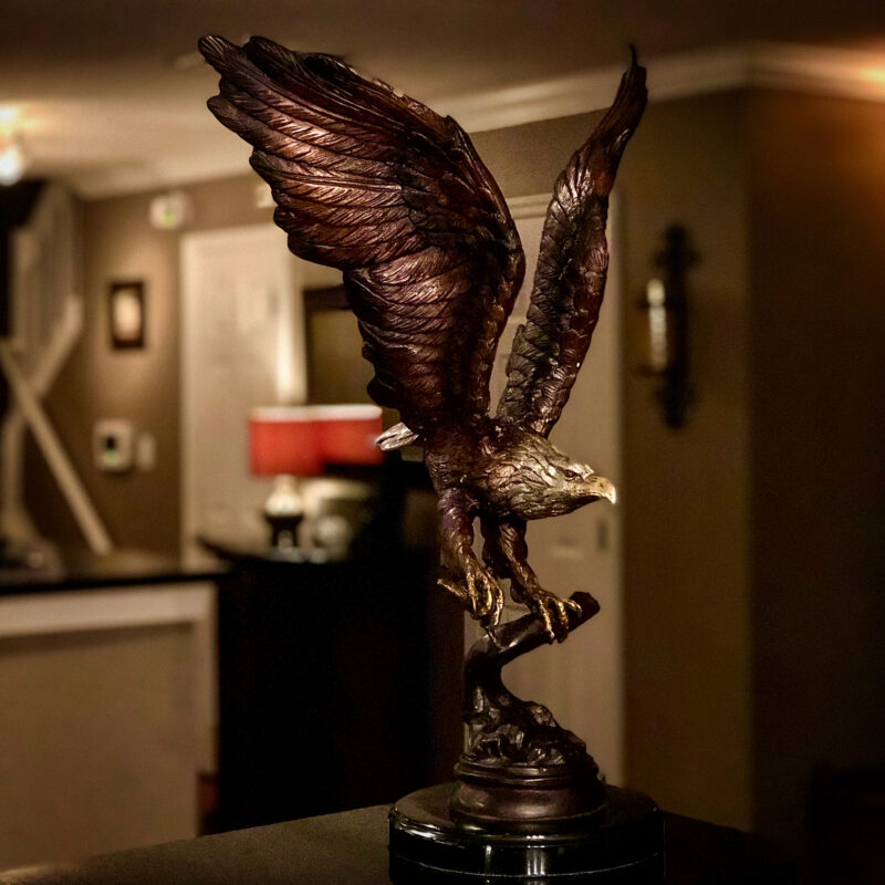 SRB056442 Bronze Flying Eagle Sculpture on Marble Base by Metropolitan Galleries Inc.