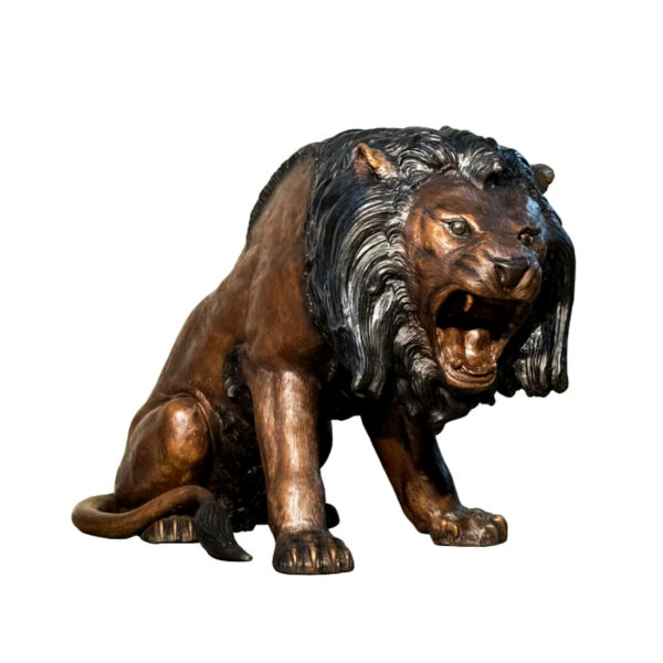 SRB056668 Bronze Roaring Lion Sculpture Metropolitan Galleries Inc.