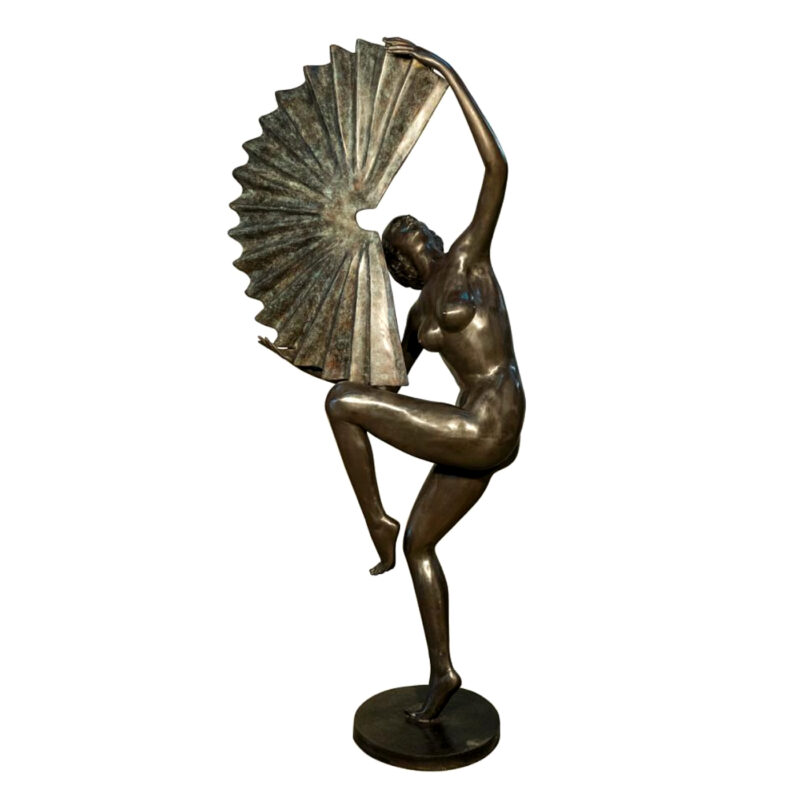 SRB056704 Bronze Nude Dancer with Fan Sculpture Metropolitan Galleries Inc.