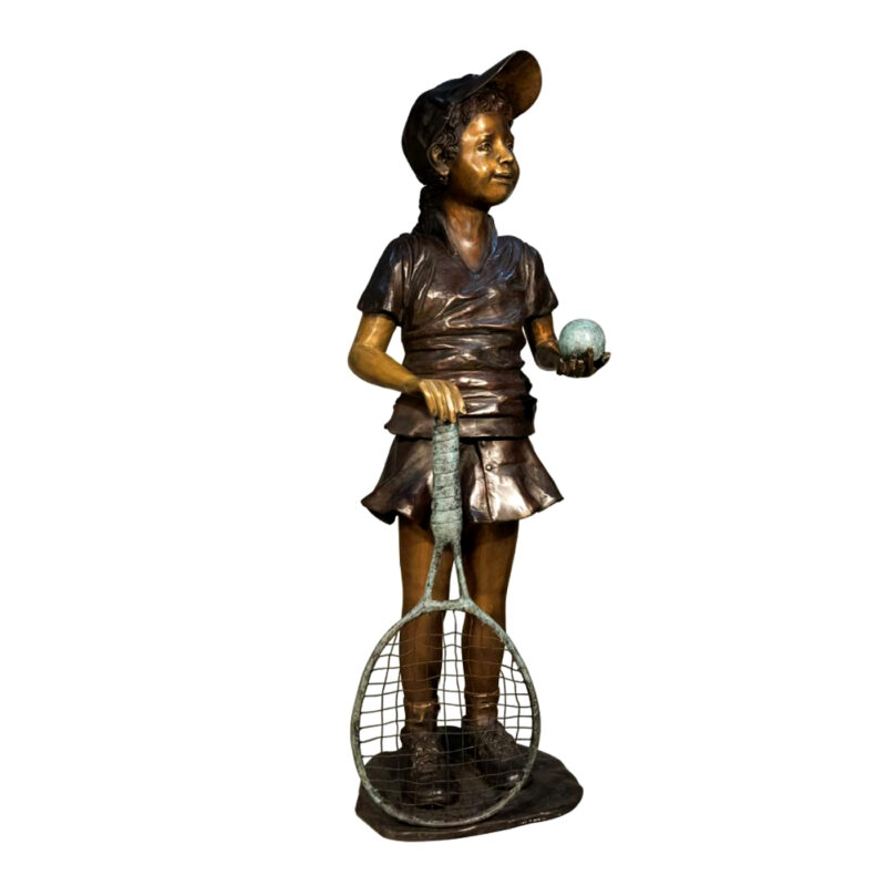 SRB057068 Bronze Girl holding Tennis Racket Sculpture Metropolitan Galleries Inc.