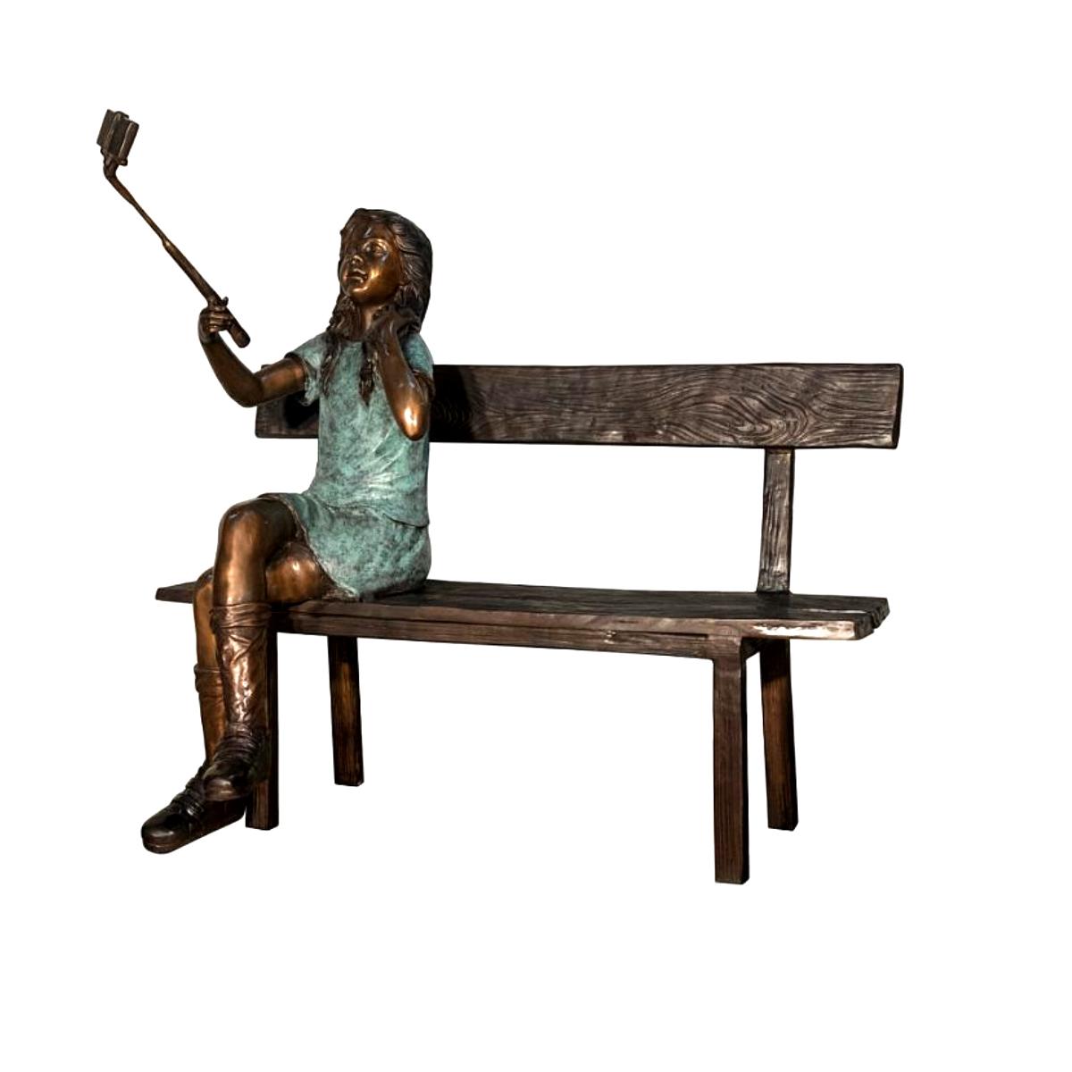 SRB058764 Bronze Girl on Bench Sculpture Metropolitan Galleries Inc.