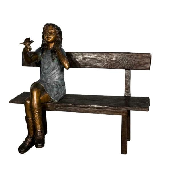 SRB058765 Bronze Girl holding Flower on Bench Sculpture Metropolitan Galleries Inc.