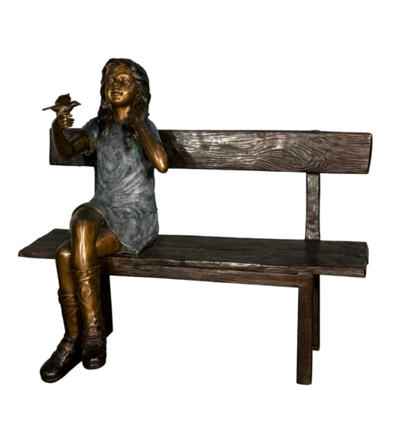 SRB058765 Bronze Girl holding Flower on Bench Sculpture Metropolitan Galleries Inc.