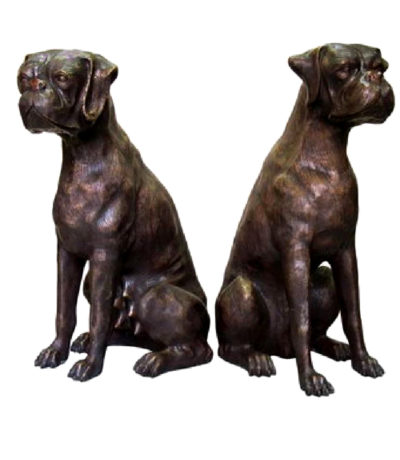 SRB059555 Bronze Sitting Dogs Sculpture Set Metropolitan Galleries Inc.