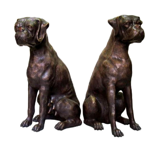 SRB059555 Bronze Sitting Dogs Sculpture Set Metropolitan Galleries Inc.