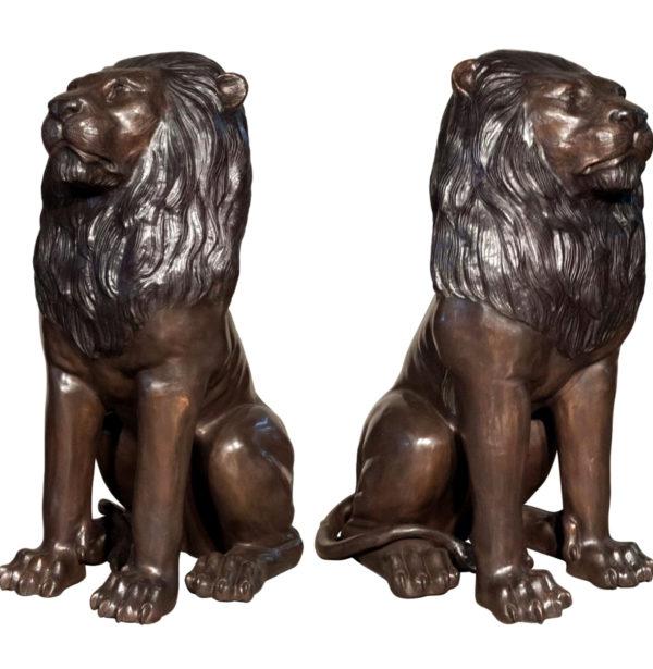SRB074220L&R Bronze Sitting Lions Sculpture Set Metropolitan Galleries Inc.