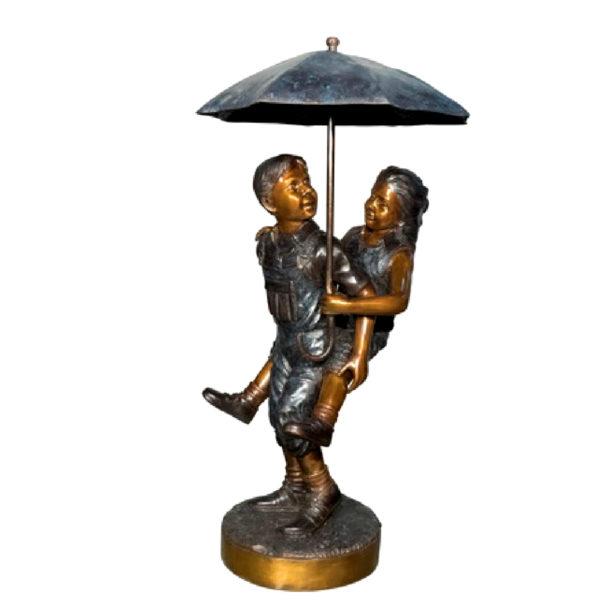 SRB082049 Bronze Children Piggyback under Umbrella Sculpture Metropolitan Galleries Inc.
