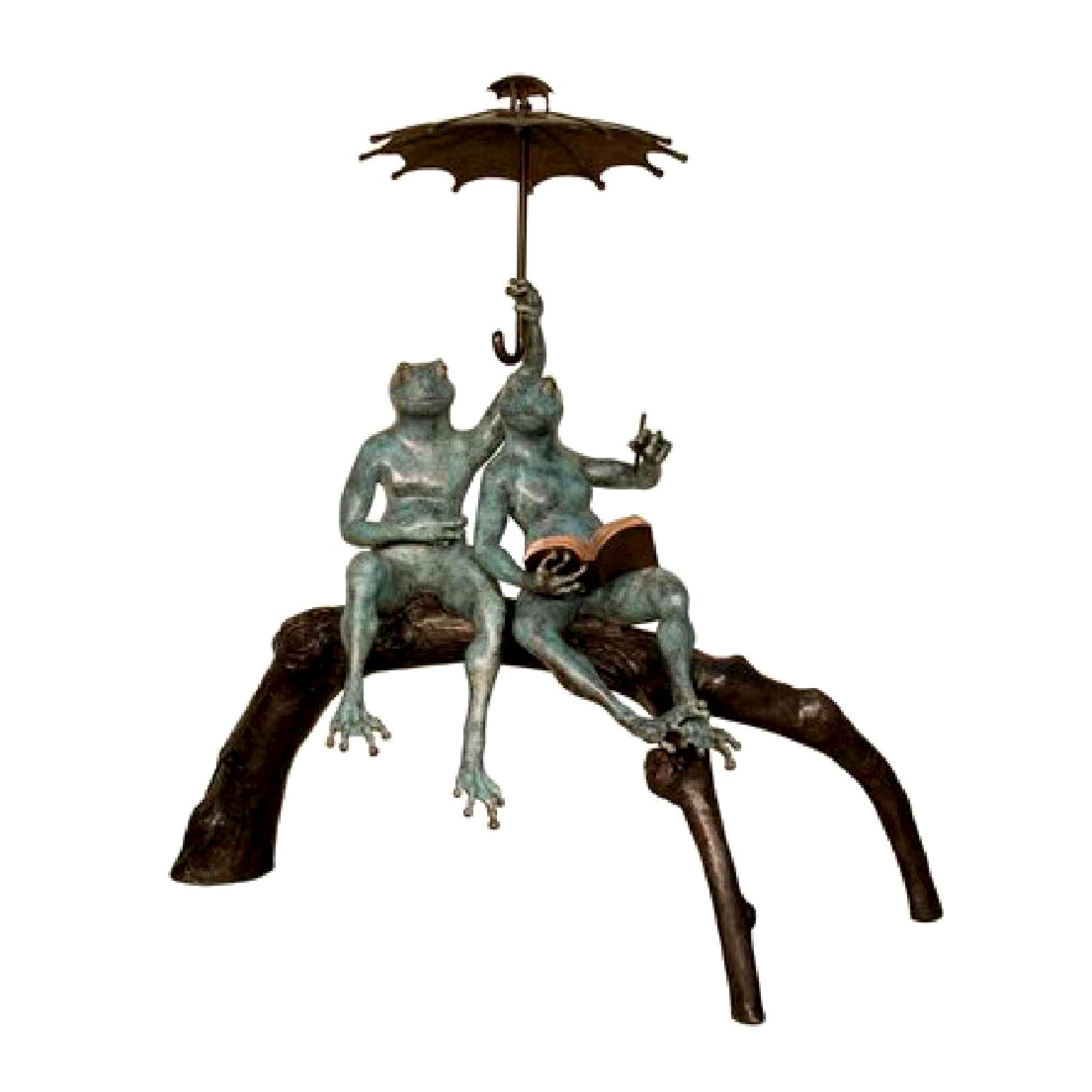 SRB087116 Bronze Frogs Reading on Tree Branch Sculpture Metropolitan Galleries Inc.