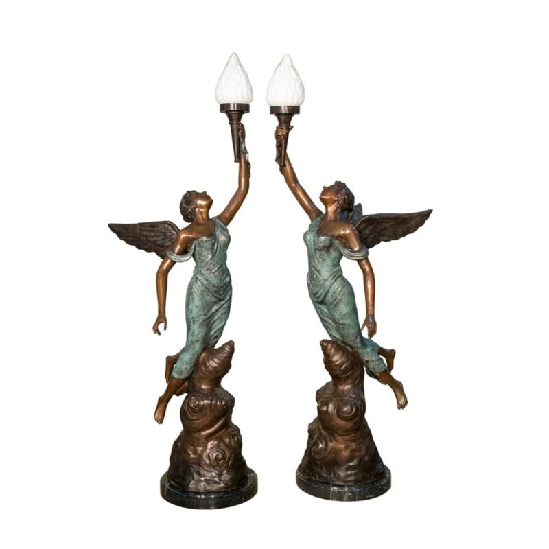 SRB091112-14 Bronze Angel Torchere Sculpture Set Metropolitan Galleries Inc.
