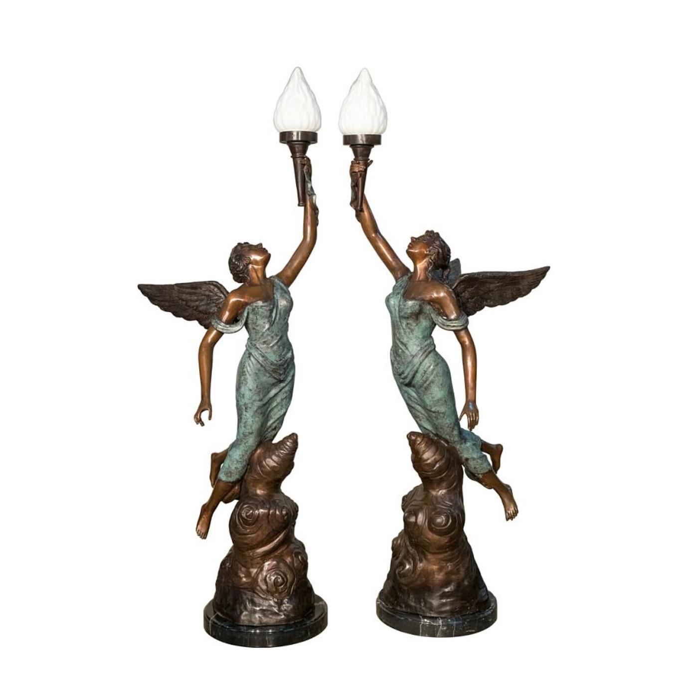 Bronze Angel Torchere Sculpture Set