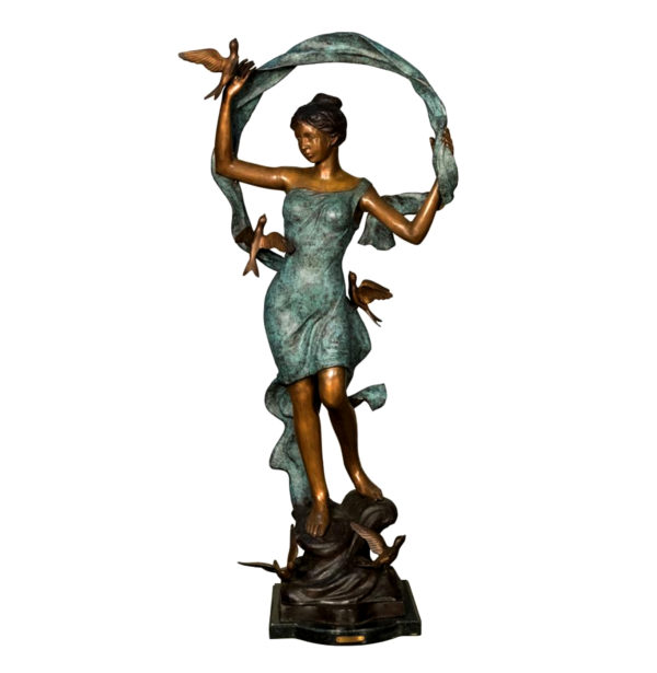 SRB094232 Bronze Girl Dancing with Birds Sculpture Metropolitan Galleries Inc.