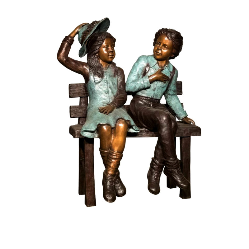 SRB094568 Bronze Children on Bench Sculpture Metropolitan Galleries Inc.